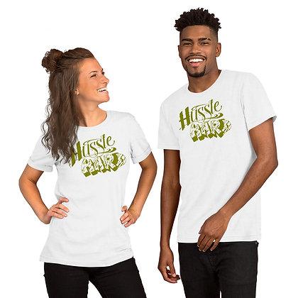 Unisex Hussle Hard White/Olive Cotton Tee
