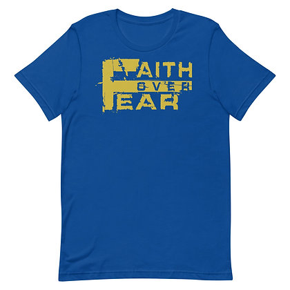 Unisex Royal Blue/Old Gold Faith Over Fear Cotton Tee