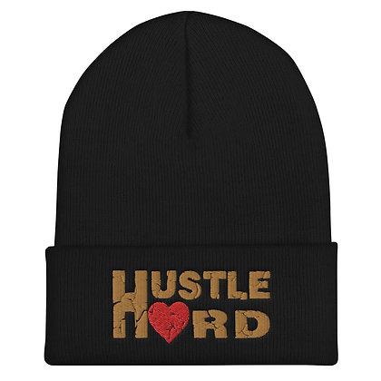 Hustle Hard Old Gold Cuffed Beanie