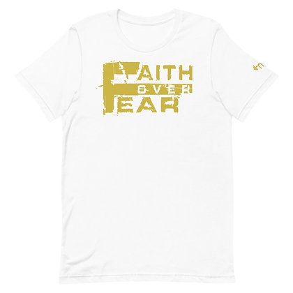 Unisex White/Old Gold Faith Over Fear Premium Tee