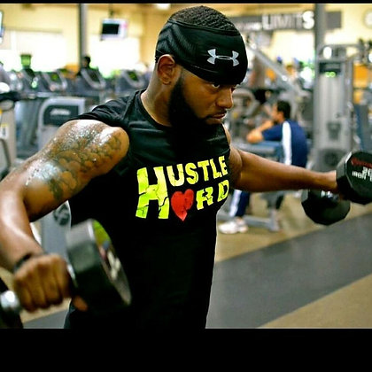 Men's Hustle Hard Black/Neon Yellow Train-Dry Crew Neck