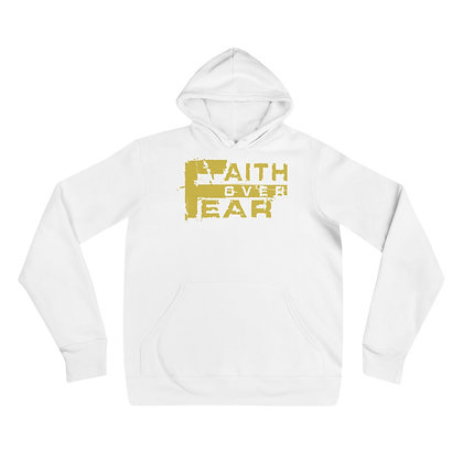 Unisex Faith Over Fear White/Old Gold hoodie
