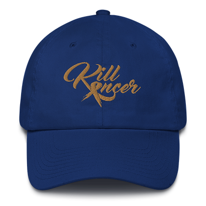 Women's Kill Childhood Kancer Royal Blue/Old Gold Made in America Dad Hat