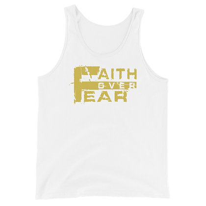 Unisex Faith Over Fear White/Old Gold Tank Top