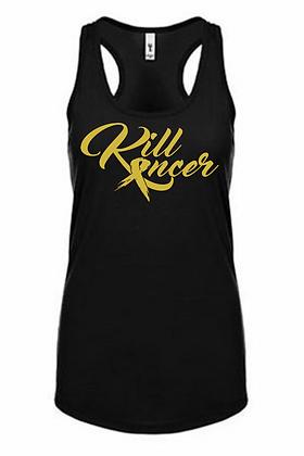 Women's Kill Childhood Kancer Black/Old Gold Premium Racerback Tank