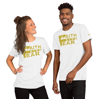 Unisex White/Old Gold Faith Over Fear Train-Dry Tee