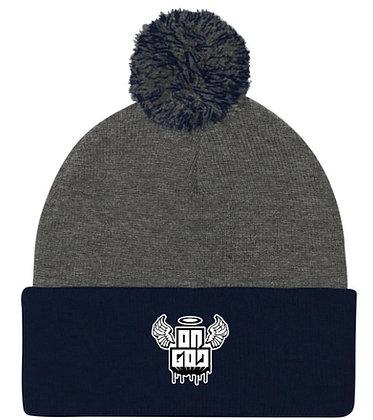 On God Grey/Navy Blue/White Pom Pom Knit Cap