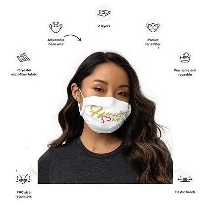 Women's Premium Hustle Hard Old Gold/White face mask