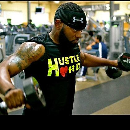 Men's Hustle Hard Black/Neon Yellow Premium Crew Neck