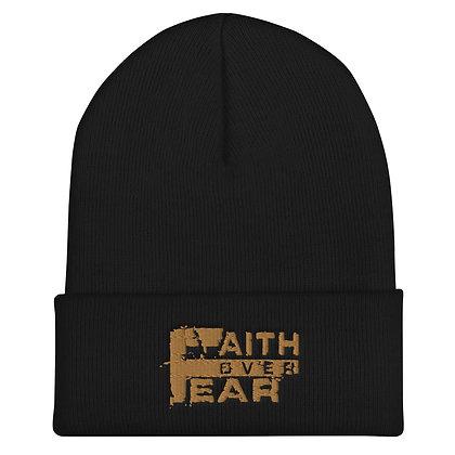 Faith Over Fear Old Gold Cuffed Beanie