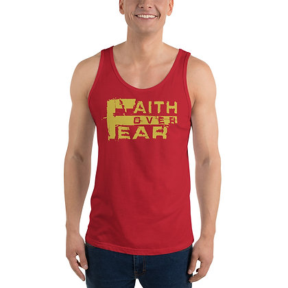 Unisex Faith Over Fear Red/Old Gold Tank Top