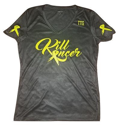 Women's Iron Grey/Neon Yellow Kill All Kancer Vneck Jersey