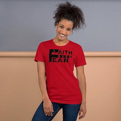 Unisex Red/Black Faith Over Fear Cotton Tee