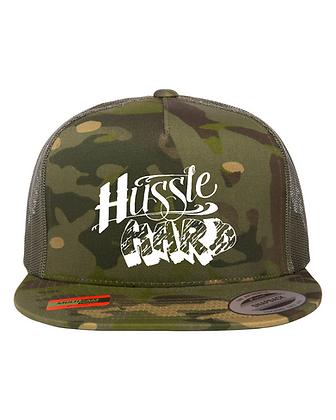Hussle Hard Camo/White Snapback Hat