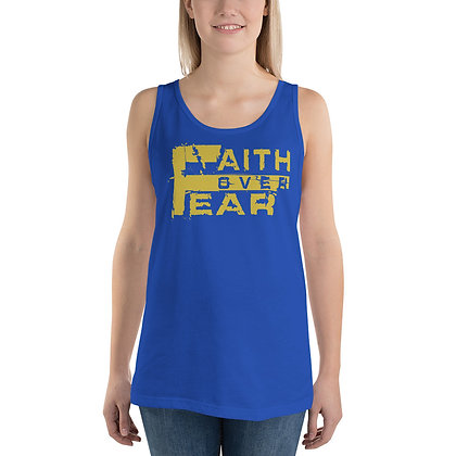 Unisex Faith Over Fear Royal Blue/Old Gold Tank Top