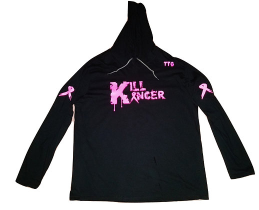 Unisex Black Kill Breast Kancer Cotton Hooded Tee Jersey