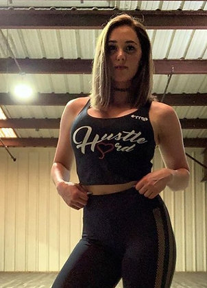 Women's Hustle Hard Black/White Crop Tank Top