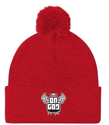 On God Red/White Pom Pom Knit Cap