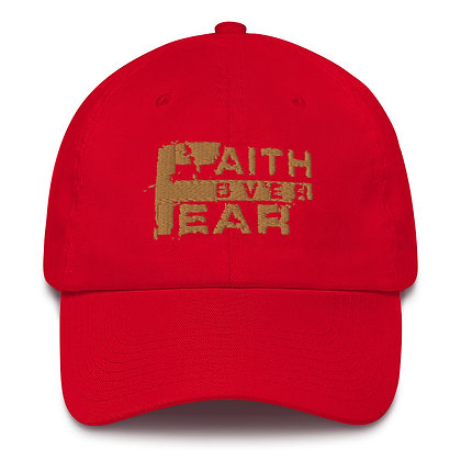 Faith Over Fear Red/Old Gold Made in America Dad Hat