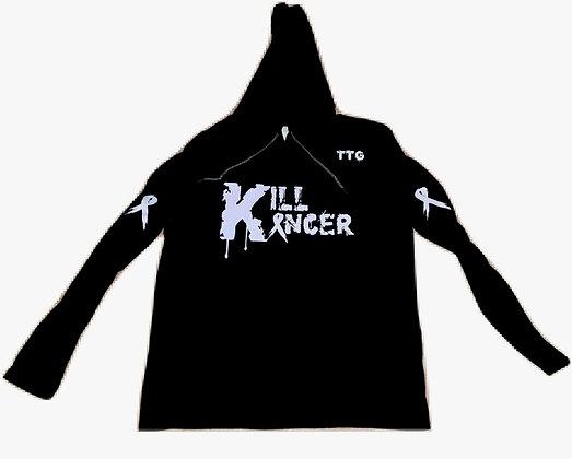 Unisex Black Kill All Kancer Lightweight Cotton Hooded Tee Jersey
