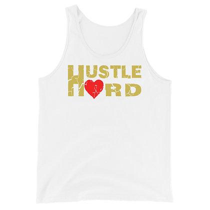 Men's Hustle Hard White/Old Gold Tank Top