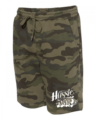 Hussle Hard Camo/White Midweight Fleece Shorts