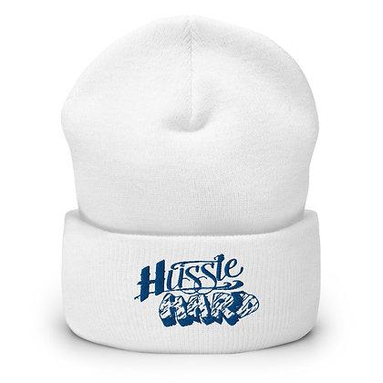 Hussle Hard White/Royal Blue Cuffed Beanie