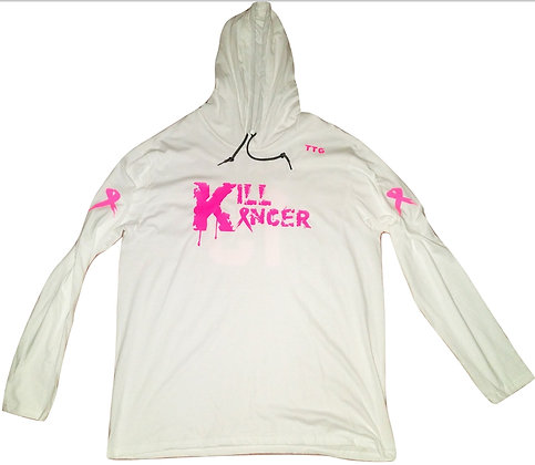 Unisex White Kill Breast Kancer Lightweight Cotton Hooded Tee Jersey