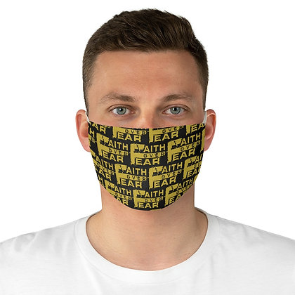 Unisex Faith Over Fear All Over White/Old Gold Facemask