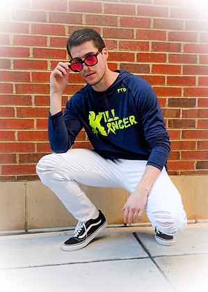 Men's Navy Blue/Neon Yellow Kill All Kancer Triblend Lightweight Hoodie