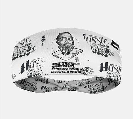 Hussle Hard White/Black Reversible Headband