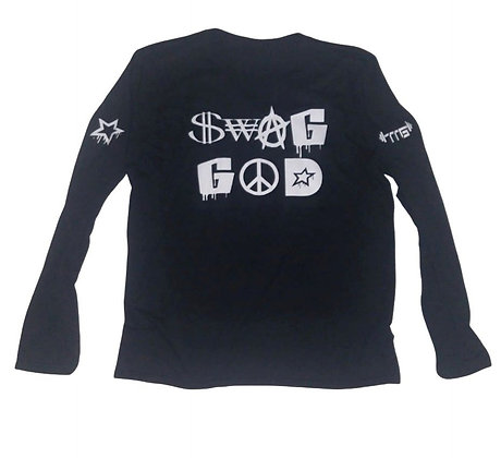 Men's Swag God Black/White Triblend Long Sleeve Crew Neck