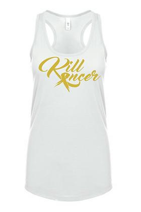 Women's Kill Childhood Kancer White/Old Gold Premium Racerback Tank