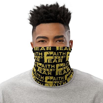 Men's Black/Old Gold Faith Over Fear Neck Gaiter