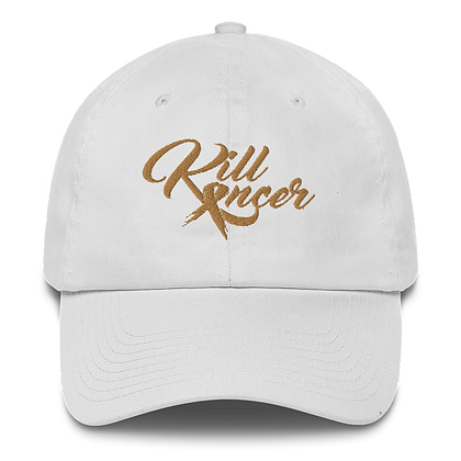 Women's Kill Childhood Kancer White/Old Gold Made in America Dad Hat