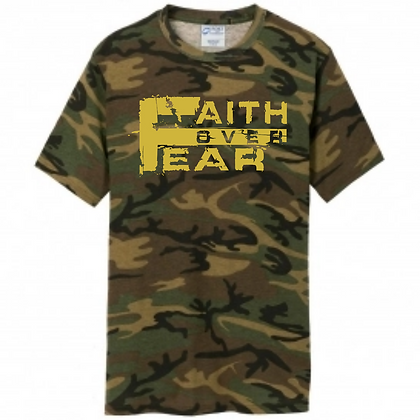 Men's Camo/Old Gold Faith Over Fear Tee