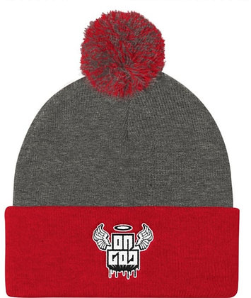 On God Grey/Red/White Pom Pom Knit Cap