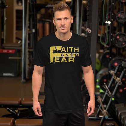 Unisex Black/Old Gold Faith Over Fear Premium Tee
