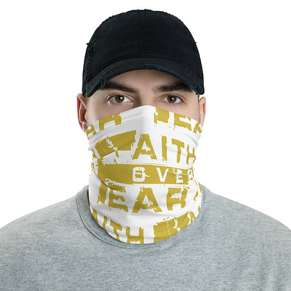 Men's White/Old Gold Faith Over Fear Neck Gaiter