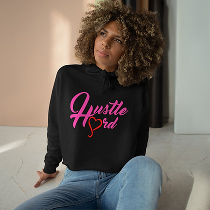 Women's Neon Pink/ Black Hustle Hard Crop Hoodie
