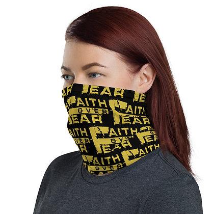 Women's Black/Old Gold Faith Over Fear Neck Gaiter