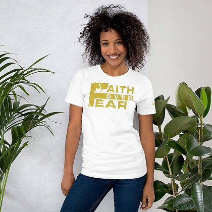 Unisex White/Old Gold Faith Over Fear Cotton Tee