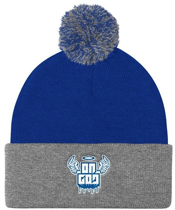 On God Royal Blue/Grey/White Pom Pom Knit Cap