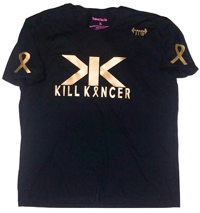 Unisex Black/Old Gold Kill Childhood Kancer Cotton Jersey Tee