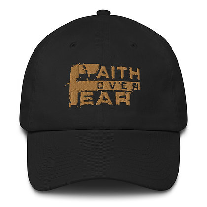 Faith Over Fear Black/Old Gold Made in America Dad Hat