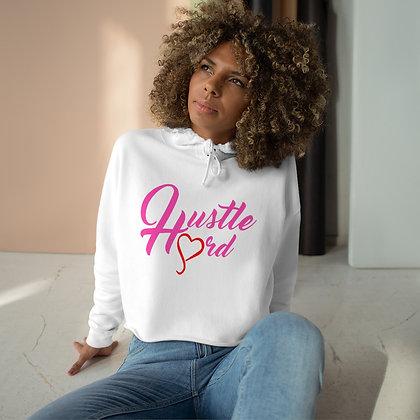 Women's Neon Pink/ White Hustle Hard Crop Hoodie