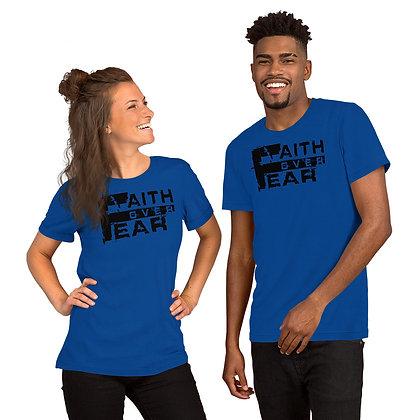 Unisex Royal Blue/Black Faith Over Fear Cotton Tee