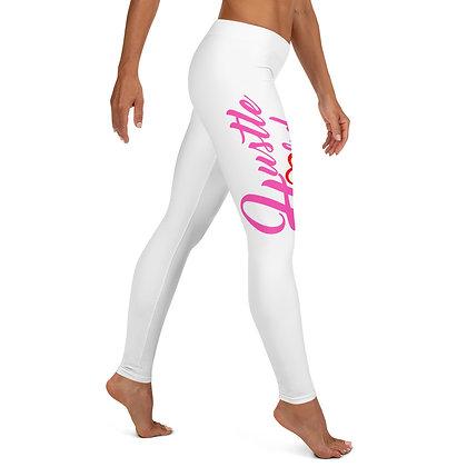 Hustle Hard Neon Pink/White Womens Leggings
