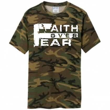 Men's Camo/White Faith Over Fear Tee