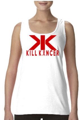 Women's White/Red Kill Blood Kancer Racerback Premium Tank Top Jersey